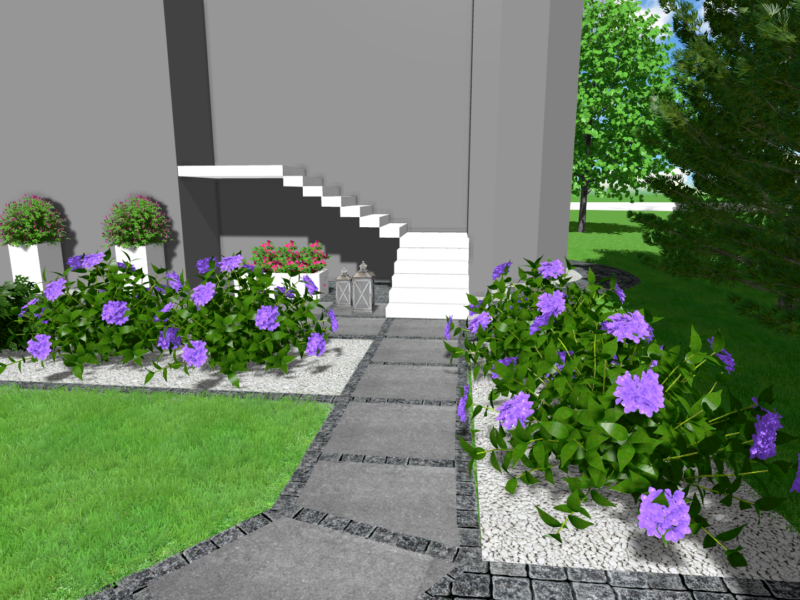 Projekt nawierzchni wokół domu jednorodzinnego