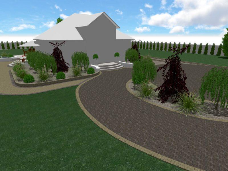 Projekt nawierzchni wraz z zielenią przy domu jednorodzinnym