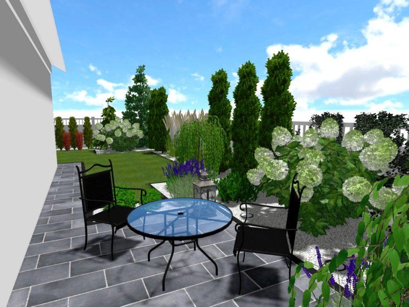 Nowoczesny i geometryczny ogród przy domu mieszkalnym