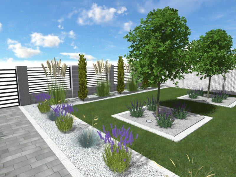 Nowoczesny ogród przy domu mieszkalnym