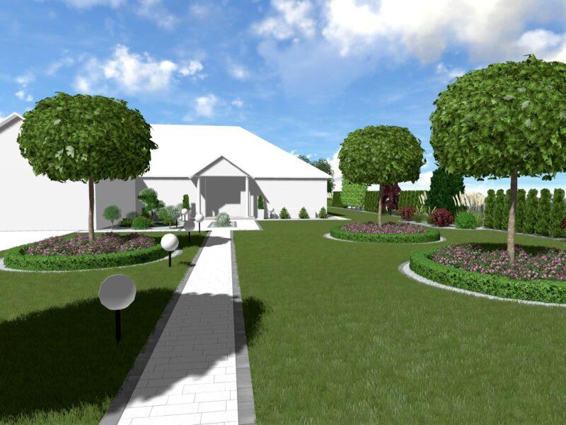 Koncepcja zagospodarowania ogrodu w stylu dworkowym